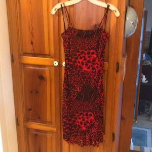 Dresses & Skirts - Red animal print dress